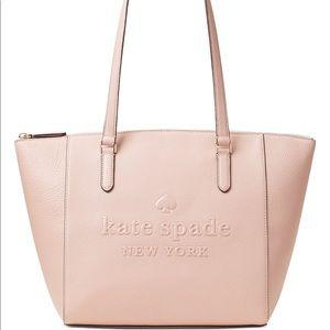 Kate ♠️ Spade Large Pink Sienna Leather Logo Tote